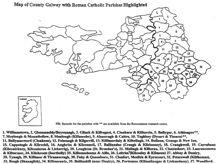 Map Of Ireland Galway County.Galway East Catholic Parishes Map Roots Ireland