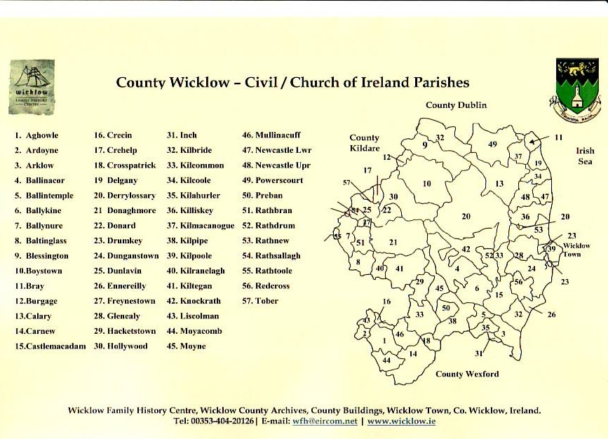 County Wicklow, Ireland map